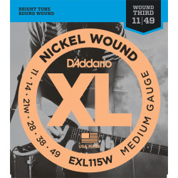 D'Addario EXL115 Nickel Wound Electric Guitar Strings, Medium/Blues-Jazz Rock, Wound 3rd, 11-49