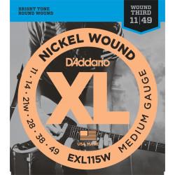 D'Addario EXL115 Nickel Wound Electric Guitar Strings, Medium/Blues-Jazz Rock, Wound 3rd, 11-49