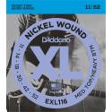 D'Addario EXL116 Nickel Wound Electric Guitar Strings, Medium Top/Heavy Bottom, 11-52