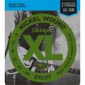 D'Addario EXL117 Nickel Wound Electric Guitar Strings, Medium Top/Extra-Heavy Bottom, 11-56