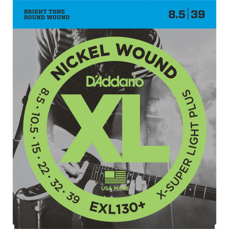 D'Addario EXL130+ Nickel Wound Electric Guitar Strings, Extra-Super Light Plus, 8.5-39