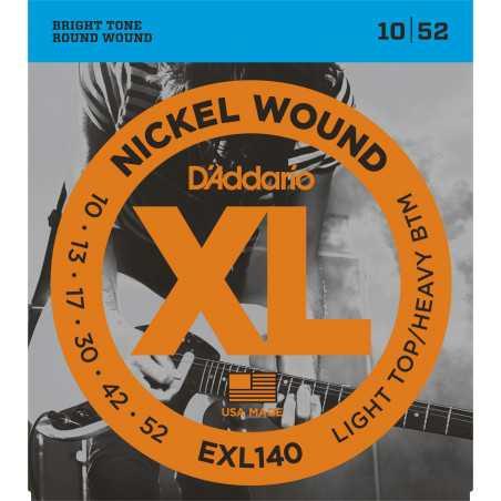 D'Addario EXL140 Nickel Wound Electric Guitar Strings, Light Top/Heavy Bottom, 10-52