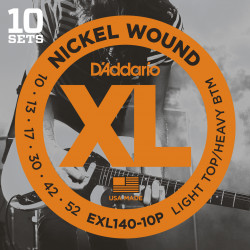 D'Addario EXL140-10P Nickel Wound Electric Guitar Strings, Light Top/Heavy Bottom, 10-52, 10 sets