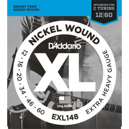 D'Addario EXL148 Nickel Wound Electric Guitar Strings, Extra-Heavy, 12-60