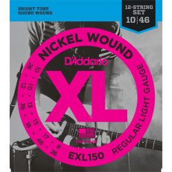 D'Addario EXL150 Nickel Wound Electric Guitar Strings, 12-String, Regular Light, 10-46