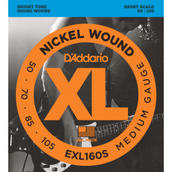 D'Addario EXL160S Nickel Wound Bass Guitar Strings, Medium, 50-105, Short Scale