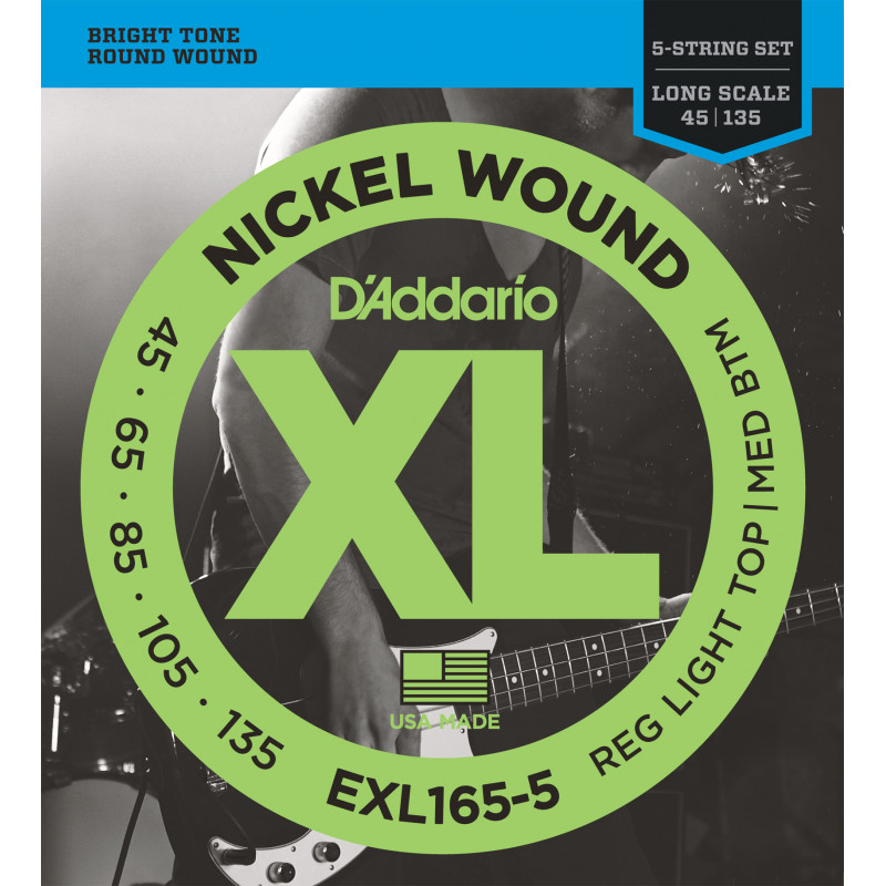 D'Addario EXL165 5-String Nickel Wound Bass Guitar Strings, Custom Light, 45-135, Long Scale