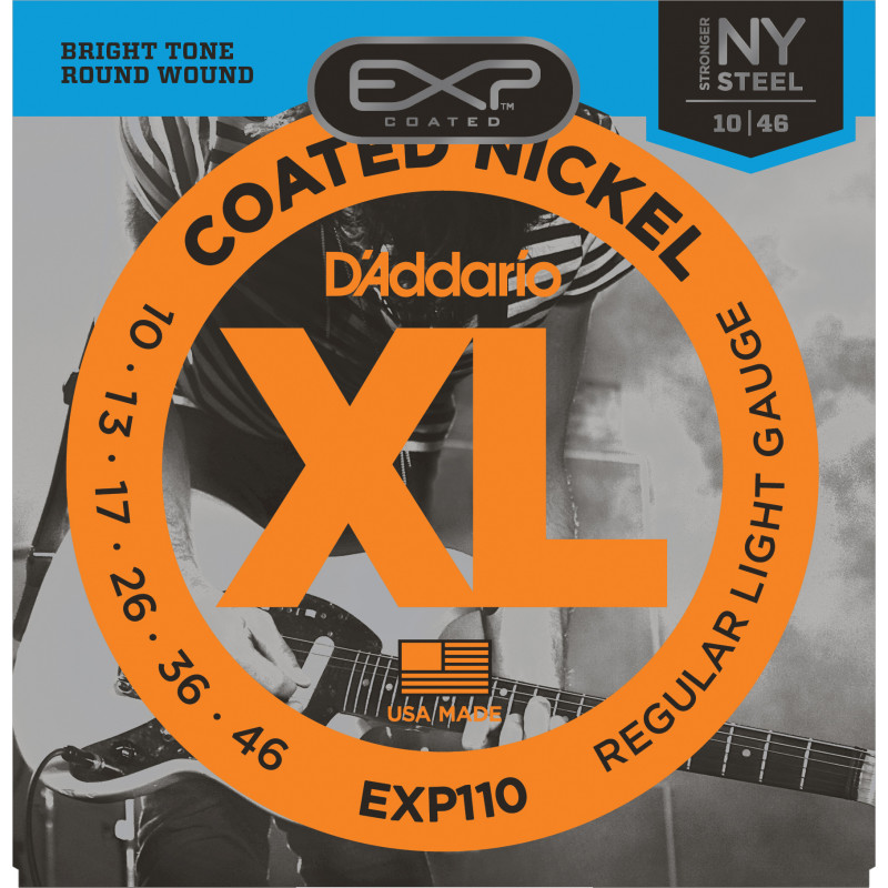 D'Addario EXP110 Coated Electric Guitar Strings, Light, 10-46
