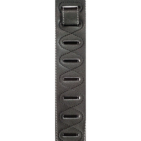 Planet Waves Deluxe Leather Padded Guitar Strap with Contrast Stitch, Black
