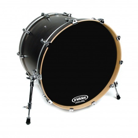 Evans EQ3 Resonant Black Bass Drum Head, No Port, 18 Inch