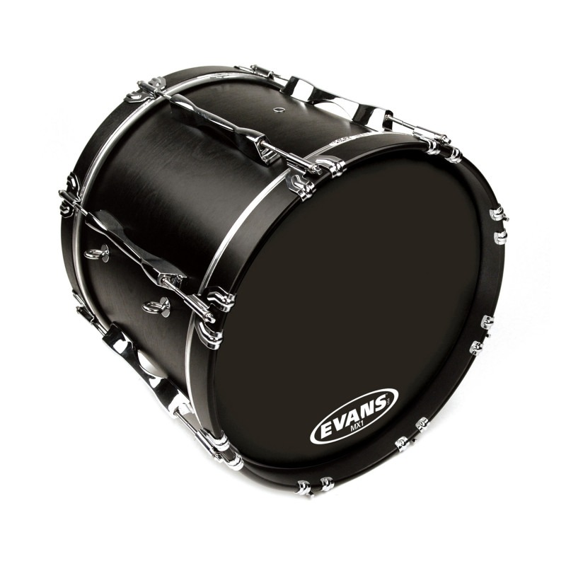 Evans MX1 Black Marching Bass Drum Head, 22 Inch