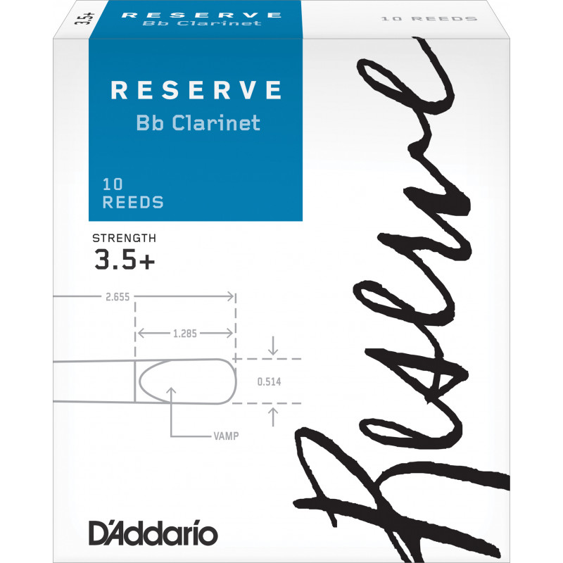 D'Addario Reserve Bb Clarinet Reeds, Strength 3.5+, 10-pack