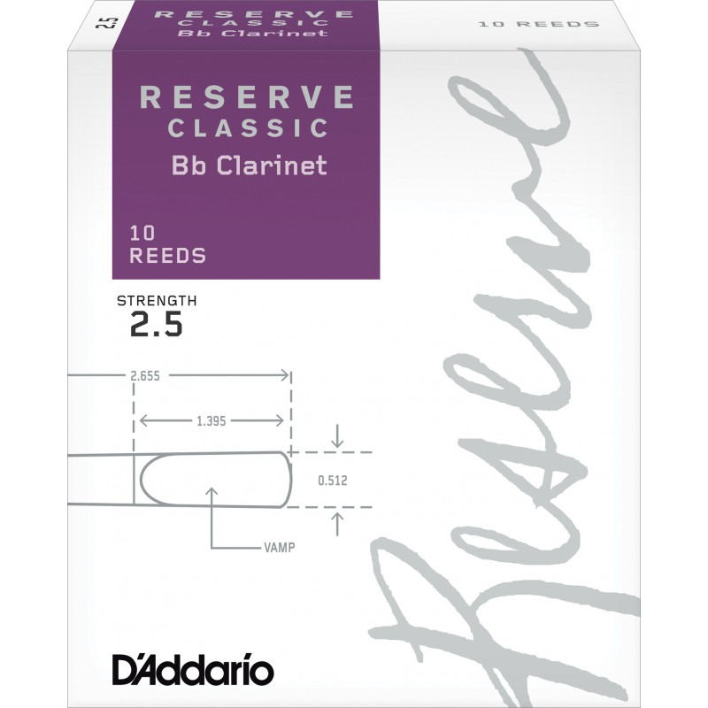 D'Addario Reserve Classic Bb Clarinet Reeds, Strength 2.5, 10-pack