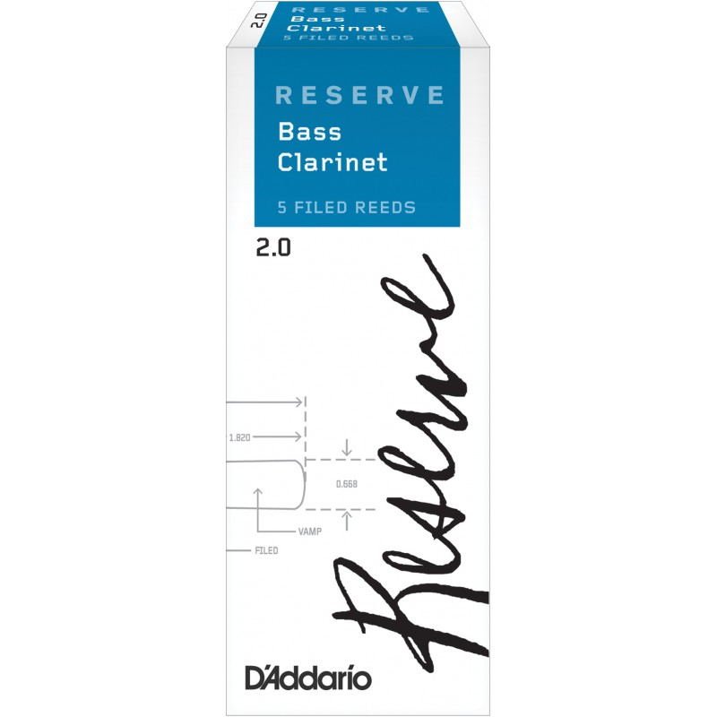 D'Addario Reserve Bass Clarinet Reeds, Strength 2.0, 5-pack