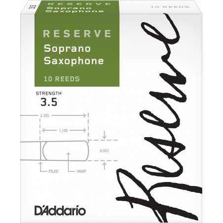 D'Addario Reserve Soprano Saxophone Reeds, Strength 3.5, 10-pack
