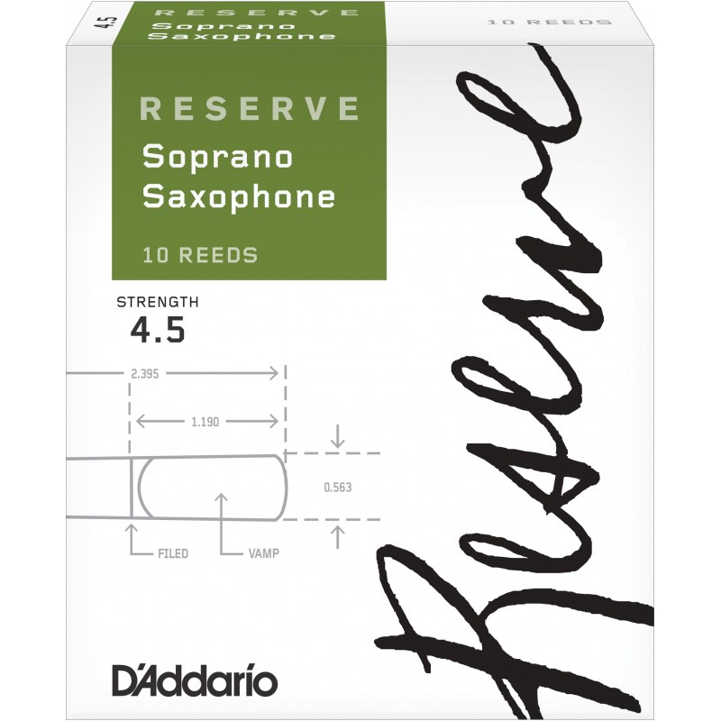 D'Addario Reserve Soprano Saxophone Reeds, Strength 4.5, 10-pack