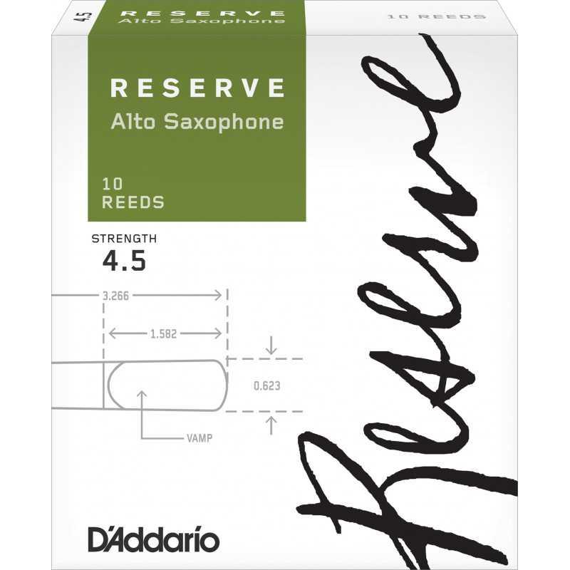 D'Addario Reserve Alto Saxophone Reeds, Strength 4.5, 10-pack