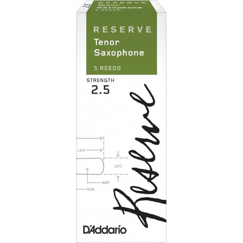 D'Addario Reserve Tenor Saxophone Reeds, Strength 2.5, 5-pack