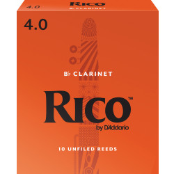 Rico by D'Addario Bb Clarinet Reeds, Strength 4, 10-pack