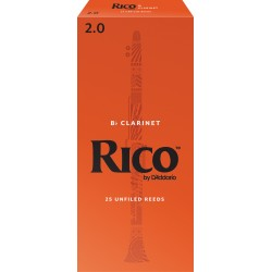 Rico Bb Clarinet Reeds, Strength 2.0, 25-pack