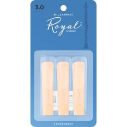 Rico Royal Bb Clarinet Reeds, Strength 3.0, 3-pack
