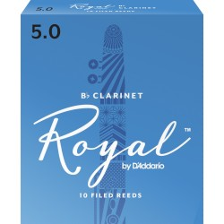 Rico Royal Bb Clarinet Reeds, Strength 5.0, 10-pack