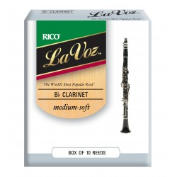 La Voz Bb Clarinet Reeds, Strength Medium-Soft, 10-pack
