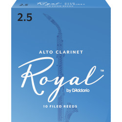Rico Royal Alto Clarinet Reeds, Strength 2.5, 10-pack