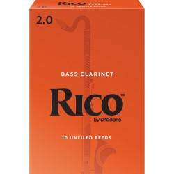 Rico Bass Clarinet Reeds, Strength 2.0, 10-pack