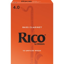 Rico by D'Addario Bass Clarinet Reeds, Strength 4, 10-pack