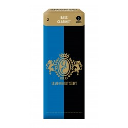 Rico Grand Concert Select Bass Clarinet Reeds, Strength 2.0, 5-pack
