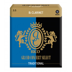 Rico Grand Concert Select Traditional Bb Clarinet Reeds, Strength 3.5, 10-pack