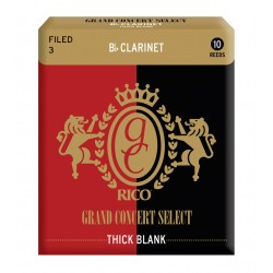 Rico Grand Concert Select Thick Blank Bb Clarinet Reeds, Filed, Strength 3.0, 10-pack