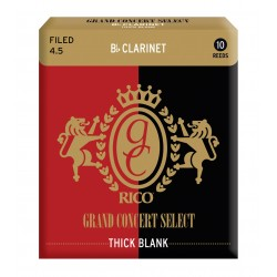 Rico Grand Concert Select Thick Blank Clarinet Reeds, Filed, Strength 4.5, 10-pack