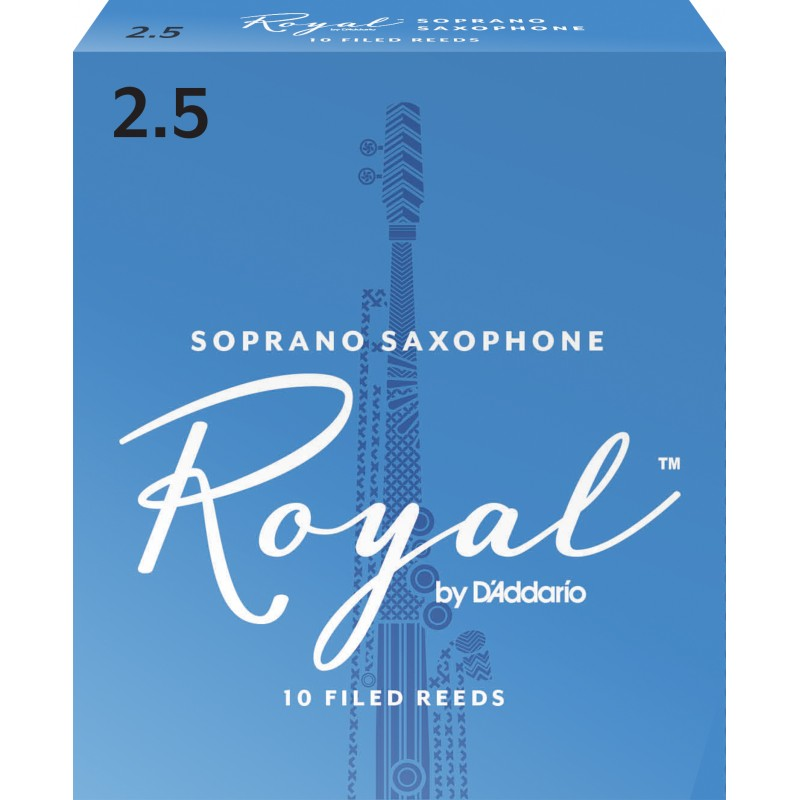 Rico Royal Soprano Sax Reeds, Strength 2.5, 10-pack