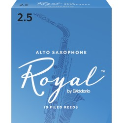 Rico Royal Alto Sax Reeds, Strength 2.5, 10-pack
