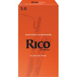 Rico Baritone Sax Reeds, Strength 3.0, 25-pack