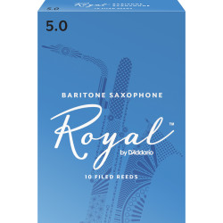 Rico Royal Baritone Sax Reeds, Strength 5.0, 10-pack