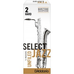 Rico Select Jazz Baritone Sax Reeds, Unfiled, Strength 2 Strength Hard, 5-pack