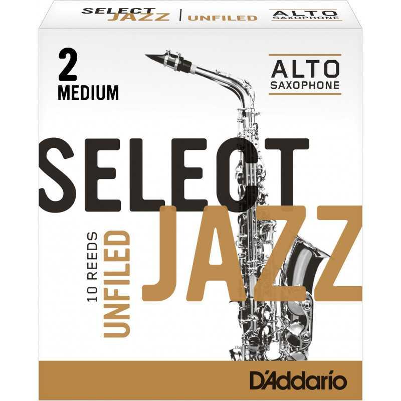Rico Select Jazz Alto Sax Reeds, Unfiled, Strength 2 Strength Medium, 10-pack