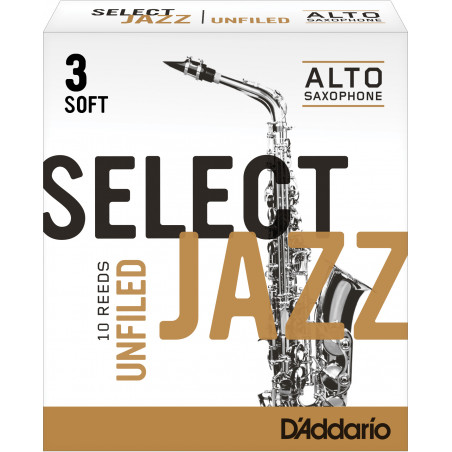 Rico Select Jazz Alto Sax Reeds, Unfiled, Strength 3 Strength Soft, 10-pack