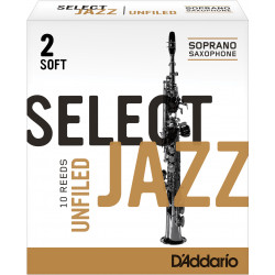 Rico Select Jazz Soprano Sax Reeds, Unfiled, Strength 2 Strength Soft, 10-pack