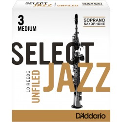 Rico Select Jazz Soprano Sax Reeds, Unfiled, Strength 3 Strength Medium, 10-pack