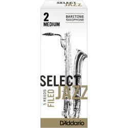 Rico Select Jazz Baritone Sax Reeds, Filed, Strength 2 Strength Medium, 5-pack