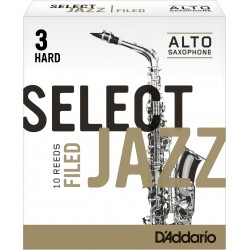 Rico Select Jazz Alto Sax Reeds, Filed, Strength 3 Strength Hard, 10-pack