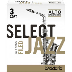 Rico Select Jazz Alto Sax Reeds, Filed, Strength 3 Strength Soft, 10-pack