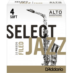 Rico Select Jazz Alto Sax Reeds, Filed, Strength 4 Strength Soft, 10-pack
