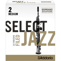 Rico Select Jazz Soprano Sax Reeds, Filed, Strength 2 Strength Medium, 10-pack