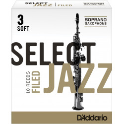 Rico Select Jazz Soprano Sax Reeds, Filed, Strength 3 Strength Soft, 10-pack