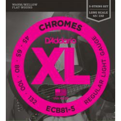 D'Addario ECB81-5 5-String Bass Guitar Strings, Light, 45-132, Long Scale